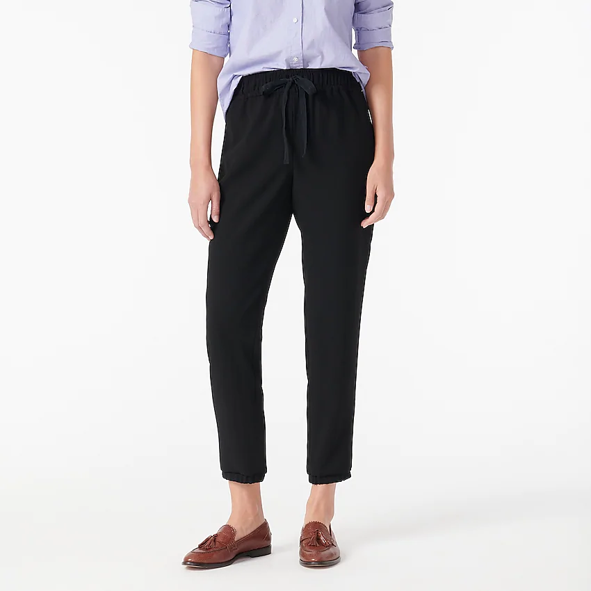 """<br><br><strong>J.Crew</strong> Jogger-Pant, $, available at <a href=""""https://go.skimresources.com/?id=30283X879131&url=https%3A%2F%2Fwww.jcrew.com%2Fp%2Fwomens_category%2Fpants%2Frelaxed%2Fjoggerpant-in-365-crepe%2FAQ779"""" rel=""""nofollow noopener"""" target=""""_blank"""" data-ylk=""""slk:J.Crew"""" class=""""link rapid-noclick-resp"""">J.Crew</a>"""