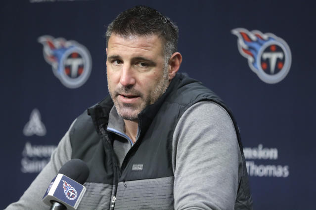 Tennessee Titans head coach Mike Vrabel answers a question Monday, Jan. 20, 2020, in Nashville, Tenn. The Titans lost the AFC Championship NFL football game Sunday to the Kansas City Chiefs 35-24. (AP Photo/Mark Humphrey)