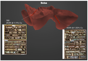 Bolsa drill core from holes #186 and #191, which intersected 263 feet at 1.11% copper and 404 feet at 1.50% copper, respectively.