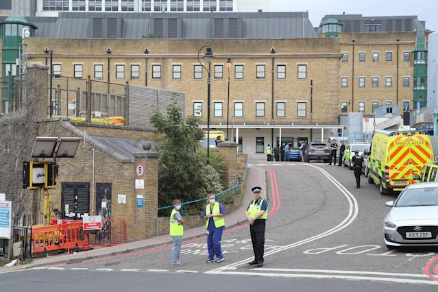Police and staff at the Royal Sussex County Hospital in Brighton.