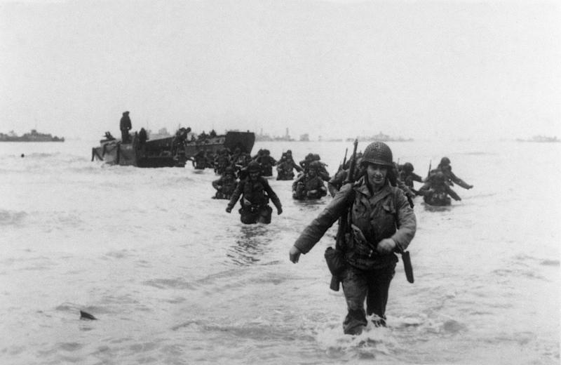 "US troops of the 4th Infantry Division ""Famous Fourth"" land on 'Utah Beach' as Allied forces storm the Normandy beaches on D-Day."