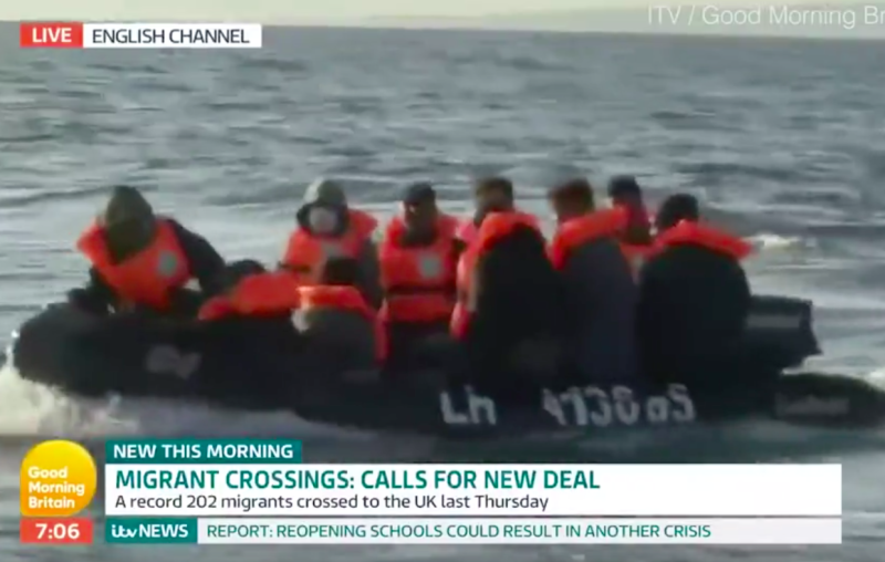 The boat was filled with about a dozen migrants (ITV/GMB)