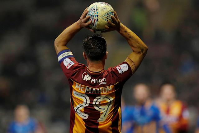 "Soccer Football - League One - Bradford City vs Shrewsbury Town - Northern Commercials Stadium, Bradford, Britain - April 12, 2018 Bradford City's Tony McMahon takes a throw in Action Images/Lee Smith EDITORIAL USE ONLY. No use with unauthorized audio, video, data, fixture lists, club/league logos or ""live"" services. Online in-match use limited to 75 images, no video emulation. No use in betting, games or single club/league/player publications. Please contact your account representative for further details."