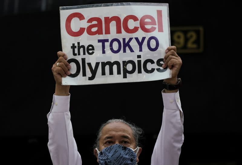 Anti-Olympics group members hold protest in Tokyo