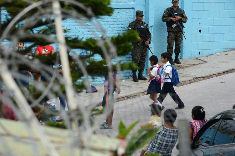 "A shoot-out in February between members of the Mara Salvatrucha (MS-13) and the ""Combo que no se Deja"" gangs left one teacher and four students injured at the school in Sagastume"