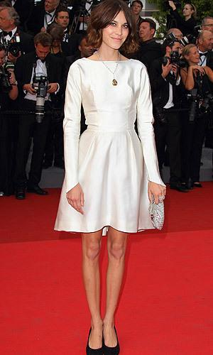 In a knee-length cream dress Alexa looks red carpet ready at the 'Sleeping Beauty' Premiere in Cannes, France.