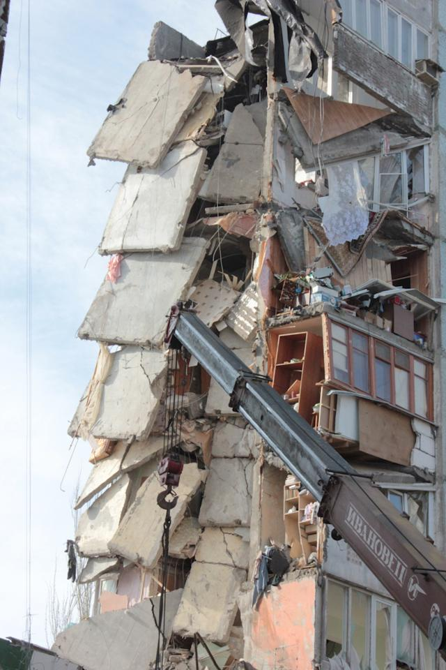 In this photo distributed by Astrakhan branch of the Ministry for Emergency Situations a general view of an apartment building after an explosion on Monday morning, Feb. 27, 2012, in Astrakhan, Russia. Such gas explosions are frequent in Russia.(AP Photo/ Astrakhan Branch, Ministry of Emergency Situations Press Service, HO)