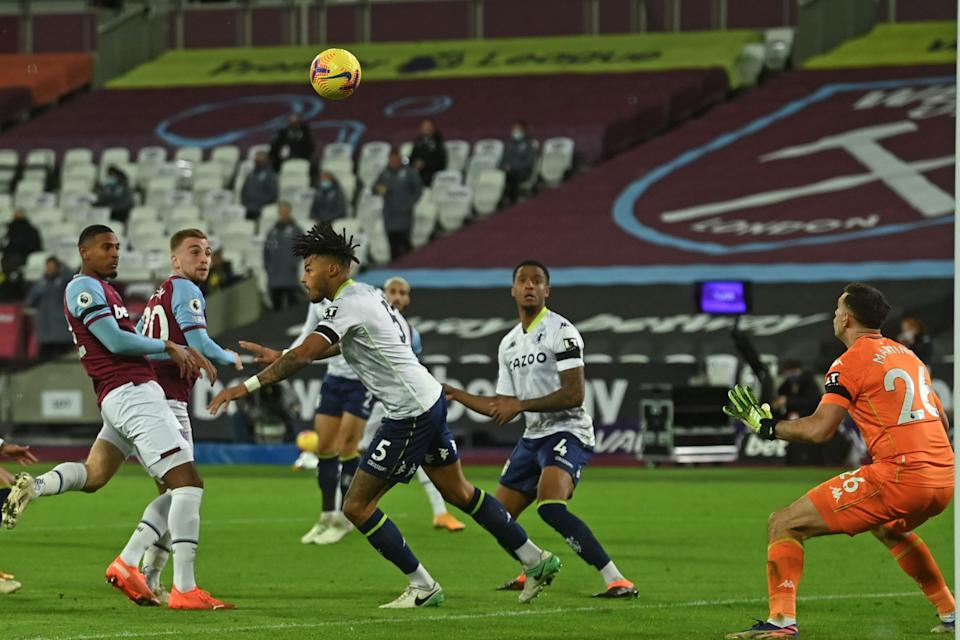 <p>Bowen heads home what proved to be the winning goal for West Ham against Aston Villa</p>POOL/AFP via Getty Images