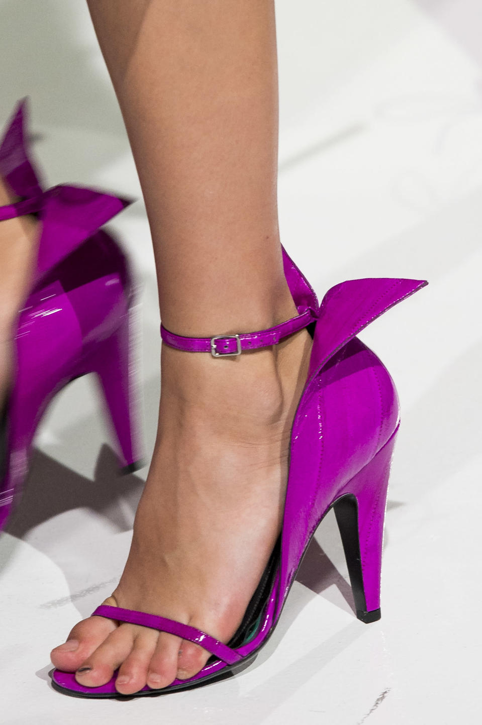 <p><i>Purple winged heels from the SS18 Calvin Klein collection. (Photo: ImaxTree) </i></p>