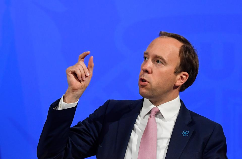 Health Secretary Matt Hancock during a media briefing in Downing Street, London, on coronavirus (Covid-19). Picture date: Wednesday May 19, 2021.