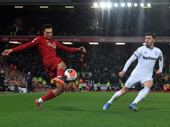 Alexander-Arnold laid on two assists for Liverpool in the comeback against West Ham (AFP via Getty)