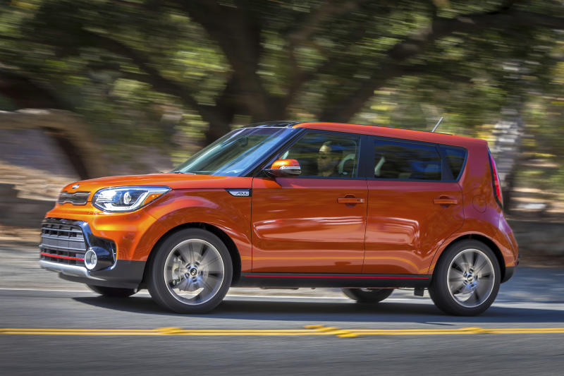 This photo provided by Kia shows the 2019 Soul and its compact yet spacious hatchback design. The unique look allows the Soul to offer copious cargo capacity in an affordable package. (Bruce Benedict/Courtesy of Kia Motors America via AP)