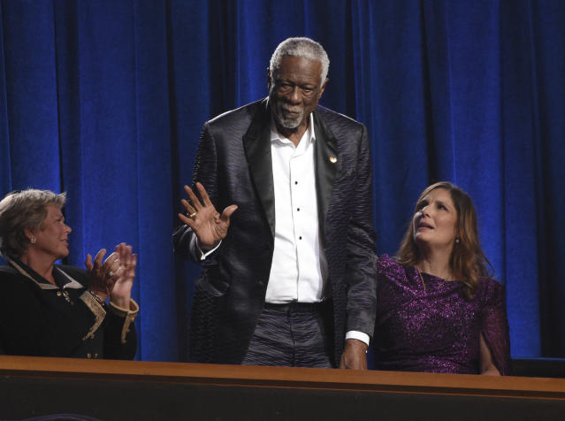 Bill Russell accepts the Arthur Ashe award for courage at the ESPY Awards on Wednesday, July 10, 2019, at the Microsoft Theater in Los Angeles. (Chris Pizzello/Invision/AP)