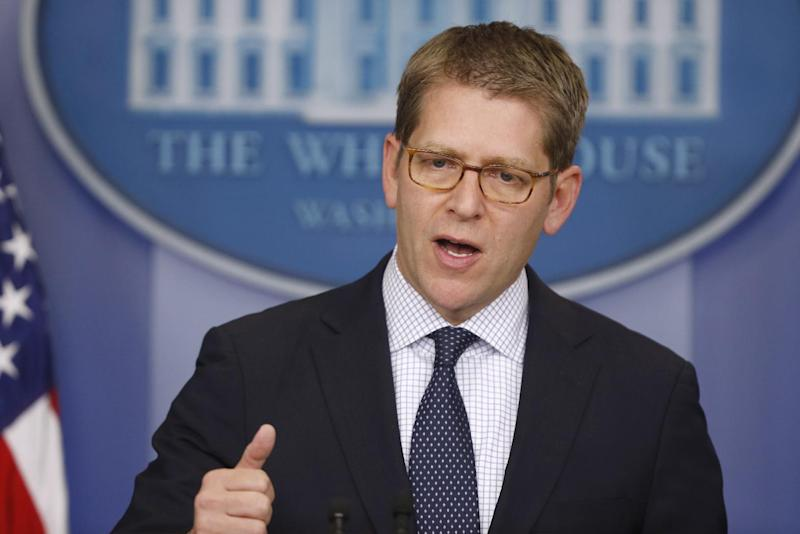 White House press secretary Jay Carney briefs reporters at the White House in Washington, Monday, April 8, 2013. (AP Photo/Charles Dharapak)