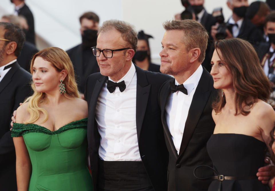 """Matt Damon, Abigail Breslin, director Tom McCarthy and Camille Cottin on the """"Stillwater"""" red carpet during the The 74th Annual Cannes Film Festival on July 8, 2021. - Credit: Michael Buckner for PMC"""