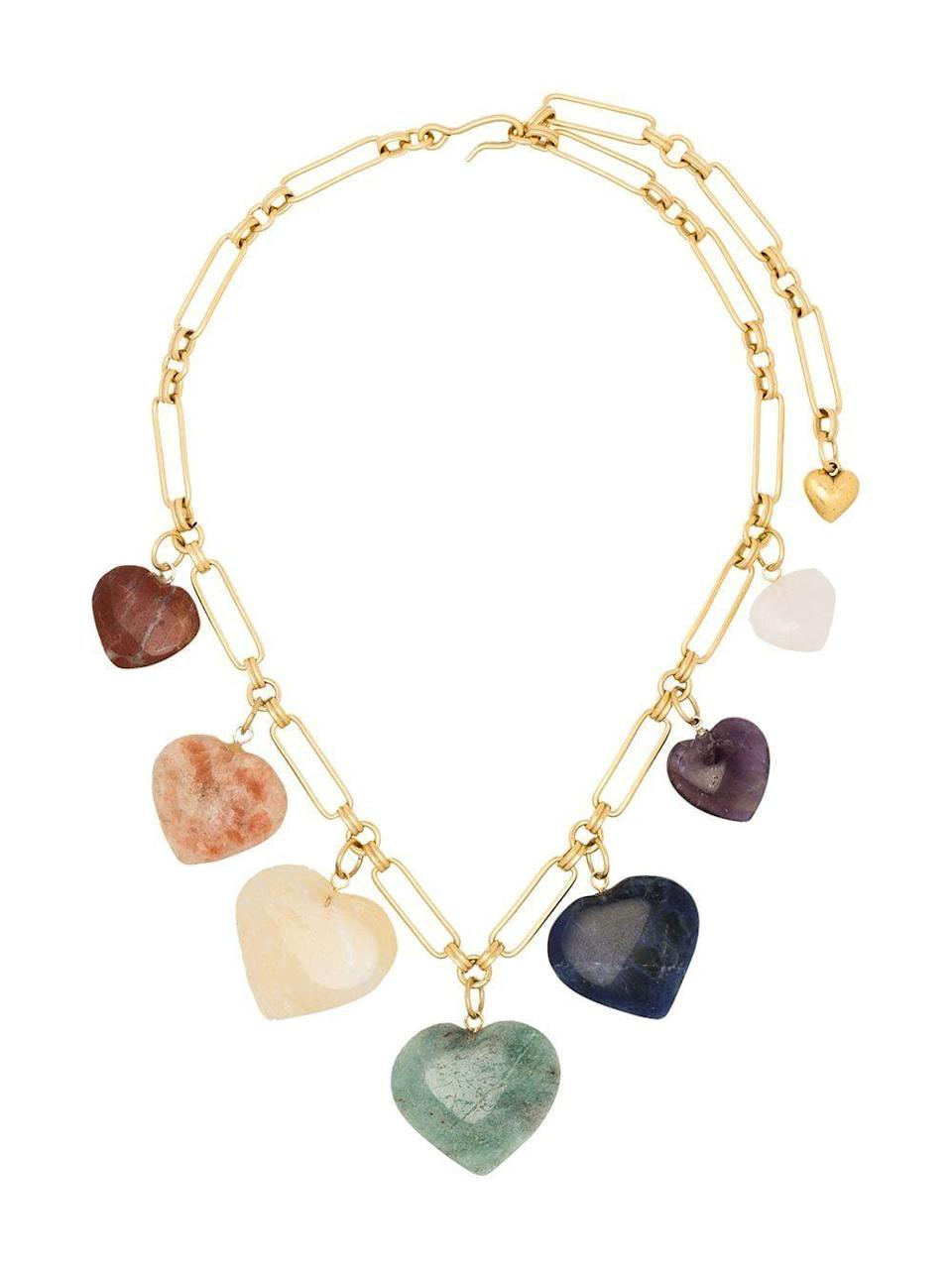 """<p><strong>Brinker and Eliza</strong></p><p>brinkerandeliza.com</p><p><strong>$238.00</strong></p><p><a href=""""https://brinkerandeliza.com/collections/all/products/carpe-diem-necklace"""" rel=""""nofollow noopener"""" target=""""_blank"""" data-ylk=""""slk:SHOP IT"""" class=""""link rapid-noclick-resp"""">SHOP IT</a></p><p>Looking to add some color into the mix? Try this heart charm necklace in a mix of assorted stones from Brinker and Eliza. </p>"""