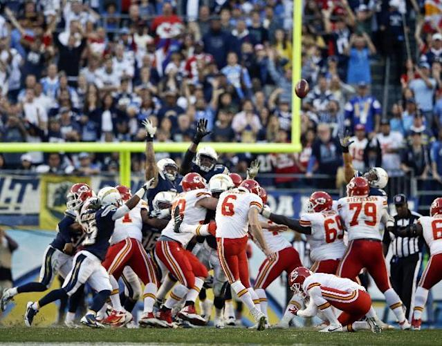 Kansas City Chiefs kicker Ryan Succop misses the possible game-winning field goal against the San Diego Chargers during the closing seconds of regulation of an NFL football game, Sunday, Dec. 29, 2013, in San Diego. The Chargers eventually won the game 27-24 in overtime. (AP Photo/Lenny Ignelzi)