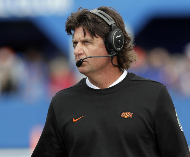 Oklahoma State head coach Mike Gundy's team got a big win Saturday night. (AP Photo/Orlin Wagner)