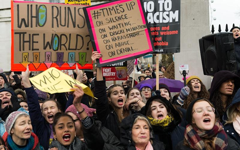Women marching in protest against abuse and sexual harassment in London at the beginning of this year - Barcroft Media
