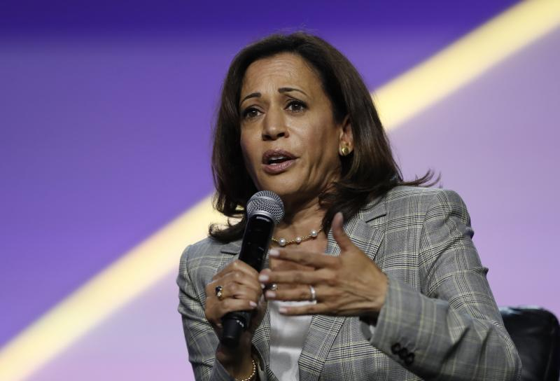 Democratic presidential candidate, Sen. Kamala Harris, D-Calif., speaks during a candidates forum at the 110th NAACP National Convention, Wednesday, July 24, 2019, in Detroit. (AP Photo/Carlos Osorio)