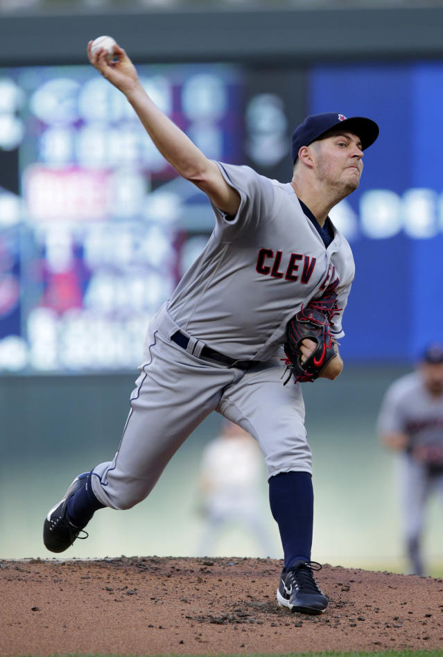 Cleveland Indians' Trevor Bauer throws to a Minnesota Twins batter during the first inning of a baseball game Tuesday, July 31, 2018, in Minneapolis. The Indians defeated the Twins 6-2. (AP Photo/Andy Clayton-King)