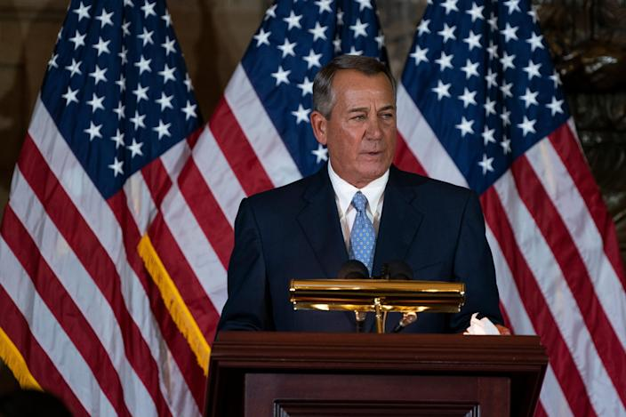 <p>Former House Speaker John Boehner speaks at a ceremony to unveil a portrait in his honour at the U.S. Capitol on 19 November 2019 in Washington, DC</p> ((Getty Images))