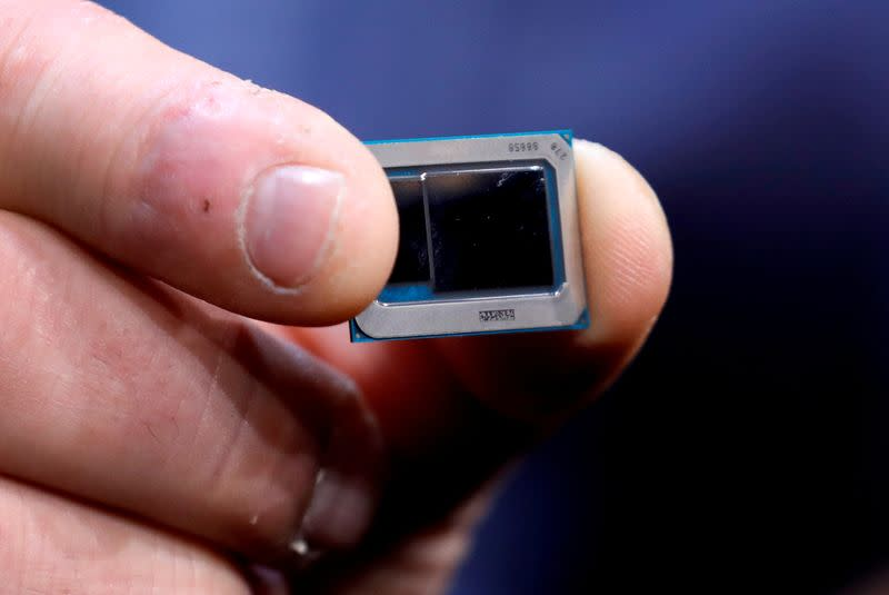 FILE PHOTO: An Intel Tiger Lake chip is displayed at an Intel news conference during the 2020 CES in Las Vegas