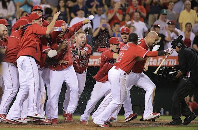 Los Angeles Angels' Albert Pujols, far right, and his teammates celebrate Pujols' 19th inning walk-off home run in a baseball game against the Boston Red Sox on Sunday, Aug. 10, 2014, in Anaheim, Calif. (AP Photo/Jae C. Hong)