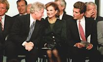 <p>Democratic President, Bill Clinton, chats with JFK Jr. and Jaqueline Kennedy Onassis at the opening of the John F. Kennedy Library in Boston. </p>