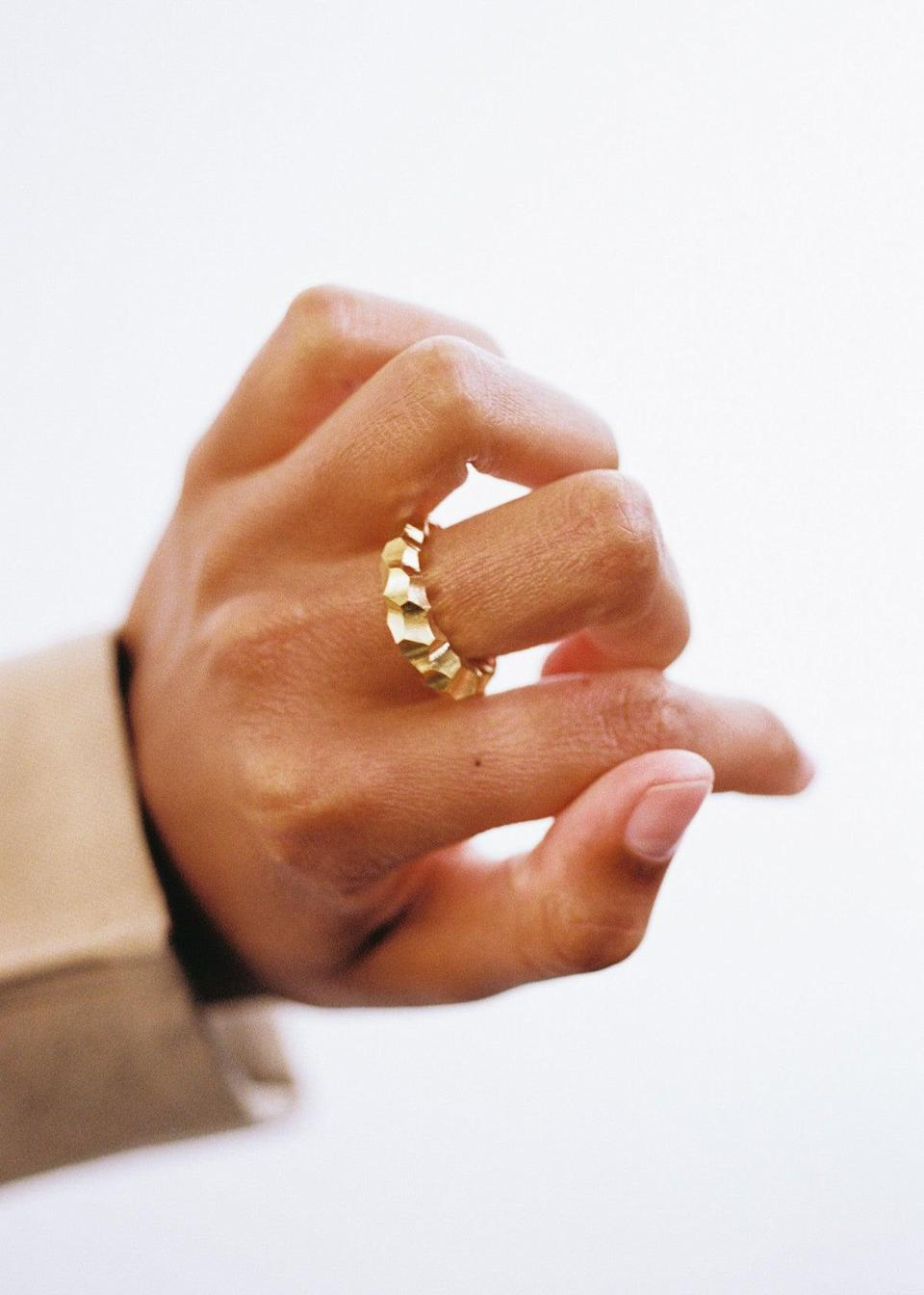 """I love minimal jewellery and I need more rings on my fingers, obviously. <br><br><strong>All Blues</strong> Snake Ring Thick, $, available at <a href=""""https://allblues.se/shop/snake-ring-thick-carved-gold"""" rel=""""nofollow noopener"""" target=""""_blank"""" data-ylk=""""slk:All Blues"""" class=""""link rapid-noclick-resp"""">All Blues</a>"""
