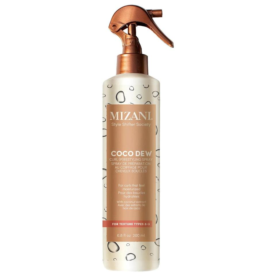 Mizani's two-in-one Coco Dew Curl Refreshing Spray is filled with key ingredient coconut extract, which moisturizes, strengthens, and nourishes your hair while leveling up its shine factor. It works as a pre-styler (just spray evenly in sections on wet hair and layer underneath your preferred styler) <em>and</em> as a re-styler when it's worked evenly in sections into dry hair from root to end, using your fingers. It also smells like an island vacation in a bottle, thanks to a blend of coconut, sea salt, guava, and heliotrope petals.