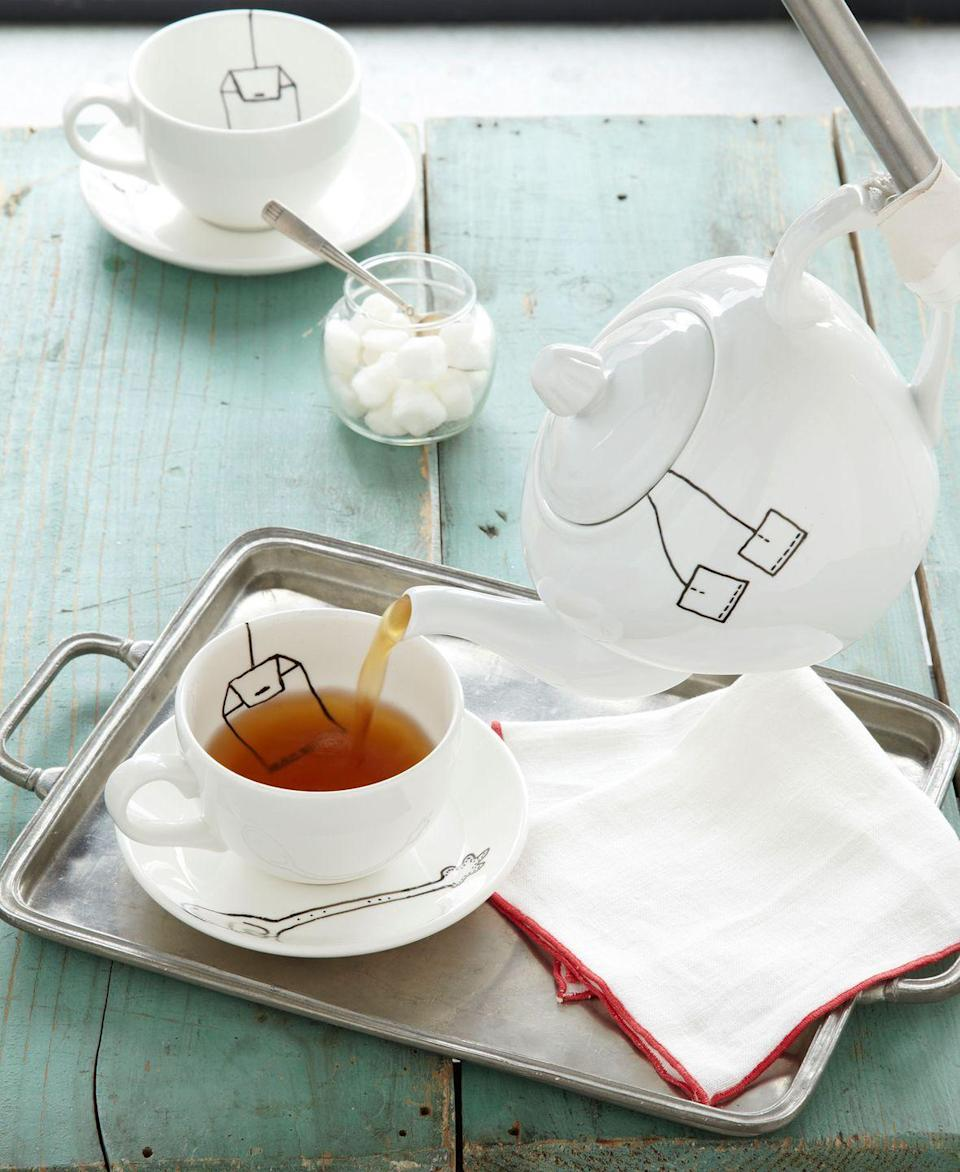 """<p>This witty set starts with plain ceramic dishes<em>.</em> To get the show on the road, freehand the tea bag, tag, and spoon designs, using our image as a guide, with <a href=""""https://www.amazon.com/Pebeo-Porcelaine-China-Marker-Anthracite/dp/B00266MNGK?tag=syn-yahoo-20&ascsubtag=%5Bartid%7C10050.g.645%5Bsrc%7Cyahoo-us"""" rel=""""nofollow noopener"""" target=""""_blank"""" data-ylk=""""slk:Pebeo's Porcelaine fine-point marker"""" class=""""link rapid-noclick-resp"""">Pebeo's Porcelaine fine-point marker</a><em>.</em> Don't worry if you make a mistake—the ink can be washed away for up to 72 hours. Allow at least 24 hours' drying time, then bake the items for 35 minutes in a 300°F oven. Let cool completely, and wash (the ink's dishwasher safe!) before brewing up a spot of Earl Grey.</p><p><strong><a class=""""link rapid-noclick-resp"""" href=""""https://go.redirectingat.com?id=74968X1596630&url=https%3A%2F%2Fwww.worldmarket.com%2Fproduct%2Fspin-cup-and-saucer-duo-set-of-4.do%3Fsortby%3DourPicks&sref=https%3A%2F%2Fwww.countryliving.com%2Fdiy-crafts%2Ftips%2Fg645%2Fcrafty-christmas-presents-ideas%2F"""" rel=""""nofollow noopener"""" target=""""_blank"""" data-ylk=""""slk:SHOP CUP AND SAUCER"""">SHOP CUP AND SAUCER</a></strong></p>"""