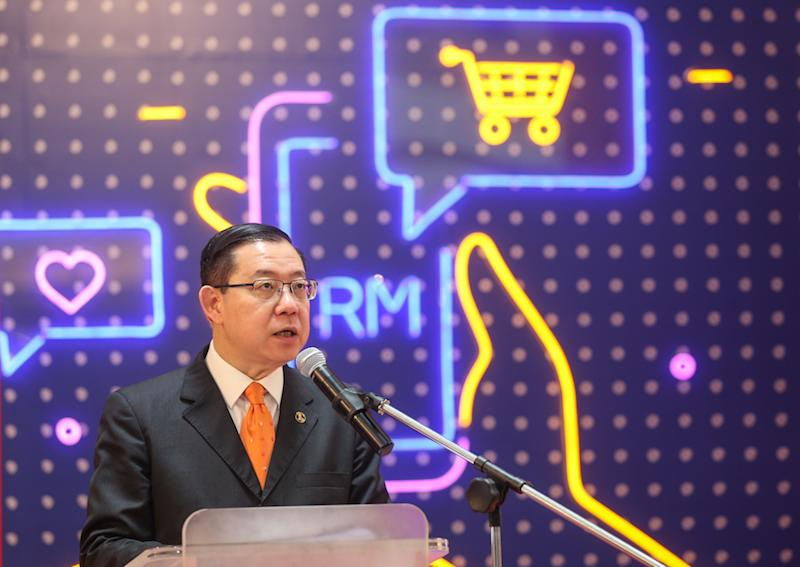 Finance Minister Lim Guan Eng speaks during the launch of 1 Utama's mobile app and online platform in Petaling Jaya September 13, 2019. — Picture by Firdaus Latif