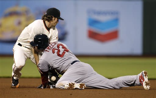 San Francisco Giants second baseman Charlie Culberson, left, tags out St. Louis Cardinals' David Freese (23) at second base as Freese tried to advance on his single during the fourth inning of a baseball game in San Francisco, Wednesday, May 16, 2012. (AP Photo/Jeff Chiu)