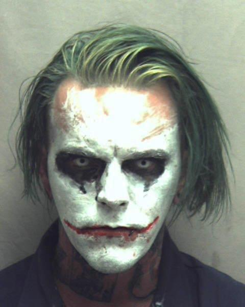 <p> This photo provided by the Winchester Police Department shows Jeremy Putman, who police in Winchester, Va., arrested Friday, March 24, 2017, after callers reported seeing him walking, wearing a cape, carrying a sword and made up as the Batman villain the Joker. Authorities charged Putman with wearing a mask in public, a felony that can result in a sentence of a year in jail. (Winchester Police Department via AP) </p>