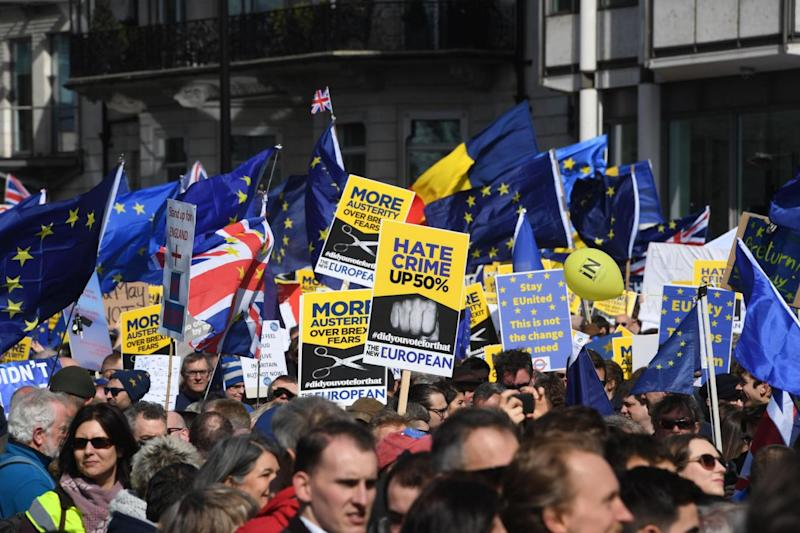 Protesters in central London today (PA)