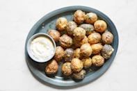 """Teeny, crispy potatoes—super quick. Serve them as a side or offer them with toothpicks and a garlickly aioli for dipping. <a href=""""https://www.epicurious.com/recipes/food/views/crispy-salt-and-pepper-potatoes-dan-kluger?mbid=synd_yahoo_rss"""" rel=""""nofollow noopener"""" target=""""_blank"""" data-ylk=""""slk:See recipe."""" class=""""link rapid-noclick-resp"""">See recipe.</a>"""