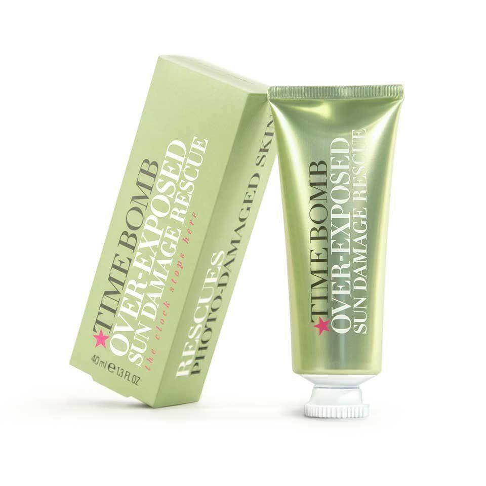 """<i>£40 from <a href=""""http://www.timebombco.com/uk/over-exposed-sun-damage-rescue-40ml.html"""" target=""""_blank"""">timebombco.com</a></i><br /><br />The latest product from Lulu's anti-ageing beauty rangepromises to reduce the feel ofdry, tight, leathery skin.Peptideshelp kick-startskin into repair mode, while antioxidant pycnogenolhelps inhibit the impact of UV rays."""