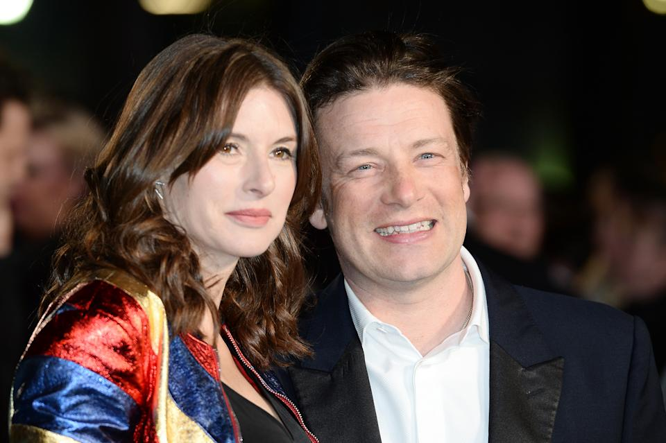 LONDON, ENGLAND - MARCH 17:  (L-R) Jools Oliver and Jamie Oliver arrive for the European premiere of 'Eddie The Eagle' at Odeon Leicester Square on March 17, 2016 in London, England.  (Photo by Jeff Spicer/Getty Images)