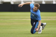 England captain Joe Root during net practice prior to the first Test Match between England and India at Trent Bridge cricket ground in Nottingham, England, Monday, Aug. 2, 2021. (AP Photo/Rui Vieira)