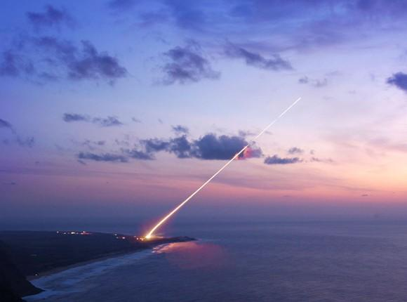 THAAD missile launch at sunset
