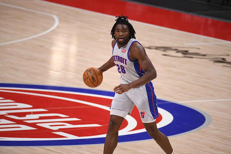 Apr 1, 2021; Detroit, Michigan, USA; Detroit Pistons center Isaiah Stewart (28) brings the ball up court against the Washington Wizards during the second quarter at Little Caesars Arena.