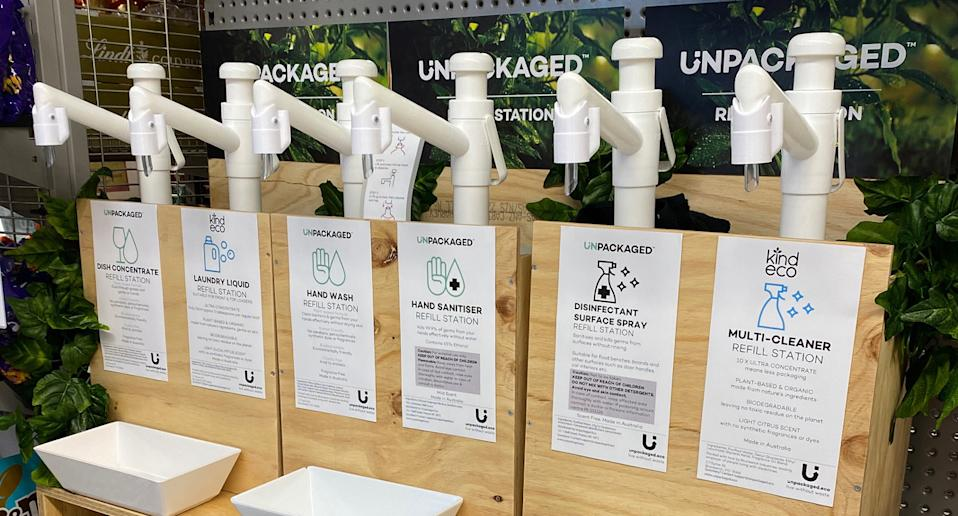 Cleaning products by unpackaged eco in a refill station in Melbourne.