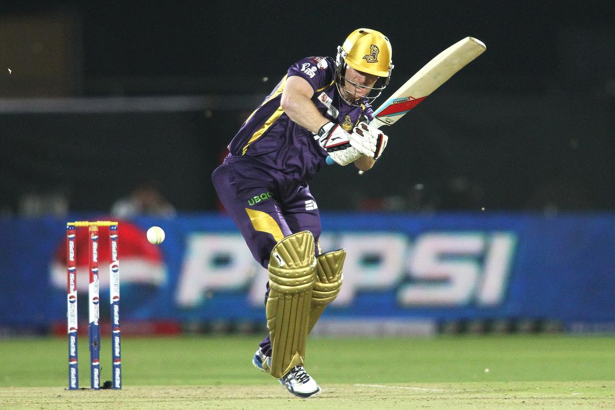 Eoin Morgan of Kolkata Knight Riders plays a delivery through the leg side during match 8 of the the Pepsi Indian Premier League ( IPL) 2013 between The Rajasthan Royals and the Kolkata Knight Riders held at the Sawai Mansingh Stadium in Jaipur on the 8th April 2013..Photo by Shaun Roy-IPL-SPORTZPICS..Use of this image is subject to the terms and conditions as outlined by the BCCI. These terms can be found by following this link:..https://ec.yimg.com/ec?url=http%3a%2f%2fwww.sportzpics.co.za%2fimage%2fI0000SoRagM2cIEc&t=1492978406&sig=9C8UoL1xQ.Gmc7mO51Pd.g--~C