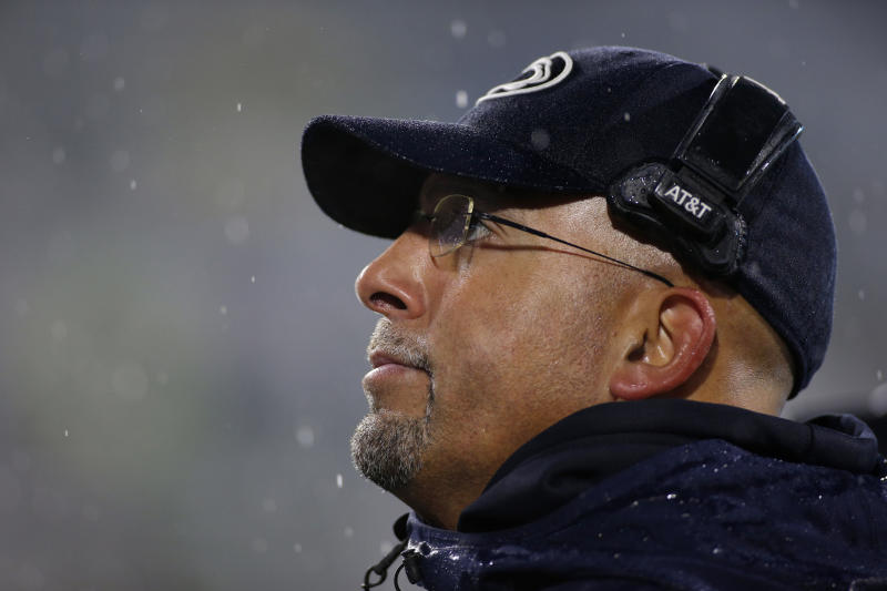 Penn State coach James Franklin watches the second half of an NCAA college football game against Michigan State, Saturday, Oct. 26, 2019, in East Lansing, Mich. (AP Photo/Al Goldis)