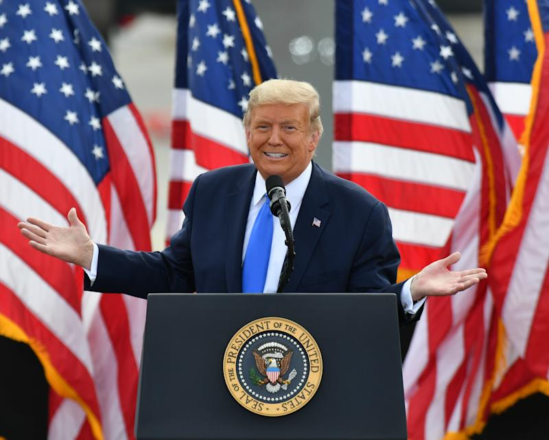 GREENVILLE, USA - OCTOBER 15: President Donald J. Trump hosts a Make America Great event in Greenville, NC United States on October 15, 2020 (Photo by Peter Zay/Anadolu Agency via Getty Images)