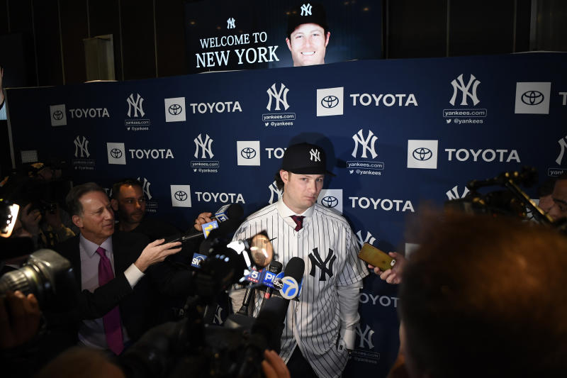 Dec 18, 2019; Bronx, NY, USA; New York Yankees pitcher Gerrit Cole speaks to the press at Legends Club at Yankee Stadium. Mandatory Credit: Danielle Parhizkaran-USA TODAY Sports