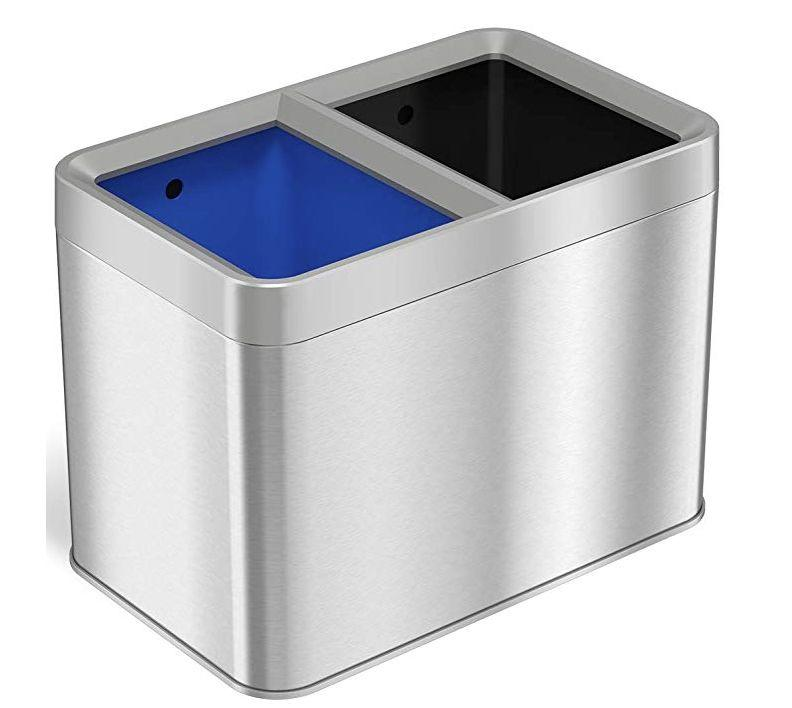 """This iTouchless Dual Compartment Slim Open Top Waste Bin for trash and recyclables is small enough for a bathroom.&nbsp;<strong><a href=""""https://www.amazon.com/iTouchless-Compartment-Recycle-Container-Stainless/dp/B07K3ZW8KX/ref=sr_1_2?thehuffingtop-20"""" target=""""_blank"""" rel=""""noopener noreferrer"""">Find it for $60 on Amazon</a>.</strong>"""