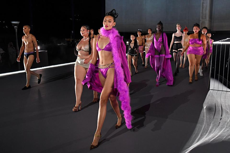 """<p>Rihanna's Savage x Fenty lingerie shows are becoming quite the catwalk extravaganza – and last night saw the premiere of the third instalment, one which included supermodels including Irina Shayk, Joan Smalls and Alek Wek, and which was attended by everyone from Gigi Hadid to Cindy Crawford. </p><p>With a reputation for being inclusive, diverse and empowering, the show did not disappoint. The 40-minute performance saw the models and performers take over the Westin Bonaventure Hotel & Suites in Los Angeles, where they showed off the daring designs.</p><p>Below, we round up 30 highlights you need to see from Rihanna's latest lingerie show, from the front row to the stars on screen. To <a href=""""https://www.amazon.co.uk/Savage-X-Fenty-Show/dp/B086HVSCXN"""" rel=""""nofollow noopener"""" target=""""_blank"""" data-ylk=""""slk:watch the performance in full, you can head this way"""" class=""""link rapid-noclick-resp"""">watch the performance in full, you can head this way</a> – and <a href=""""https://www.savagex.co.uk/"""" rel=""""nofollow noopener"""" target=""""_blank"""" data-ylk=""""slk:click here to shop the collection."""" class=""""link rapid-noclick-resp"""">click here to shop the collection.</a></p>"""