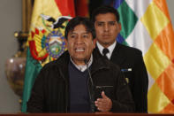 Bolivia's Foreign Minister David Choquehuanca speaks during a press conference in La Paz, Bolivia, Tuesday, July 2, 2013. Bolivia's foreign minister says the plane bringing President Evo Morales home from Russia was rerouted to Austria after France and Portugal refused to let it to cross their airspace because of suspicions that NSA leaker Edward Snowden was on board. (AP Photo/Juan Karita)